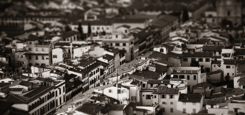 Florence tilt-shift viewed from top of the Cathedral Bell Tower