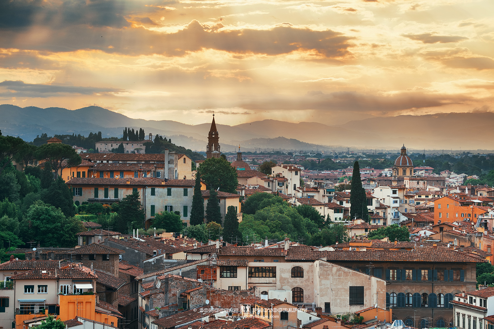Sunny afternoon in Florence in Italy.