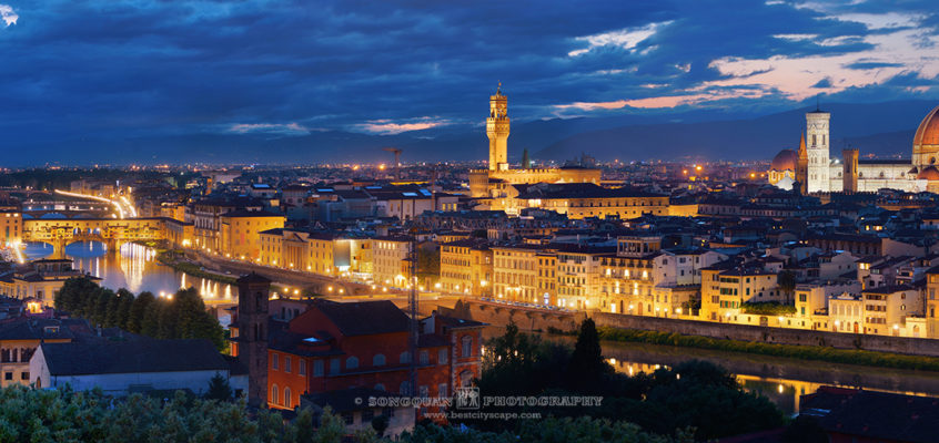 Florence panorama at dusk after sunset in Italy.