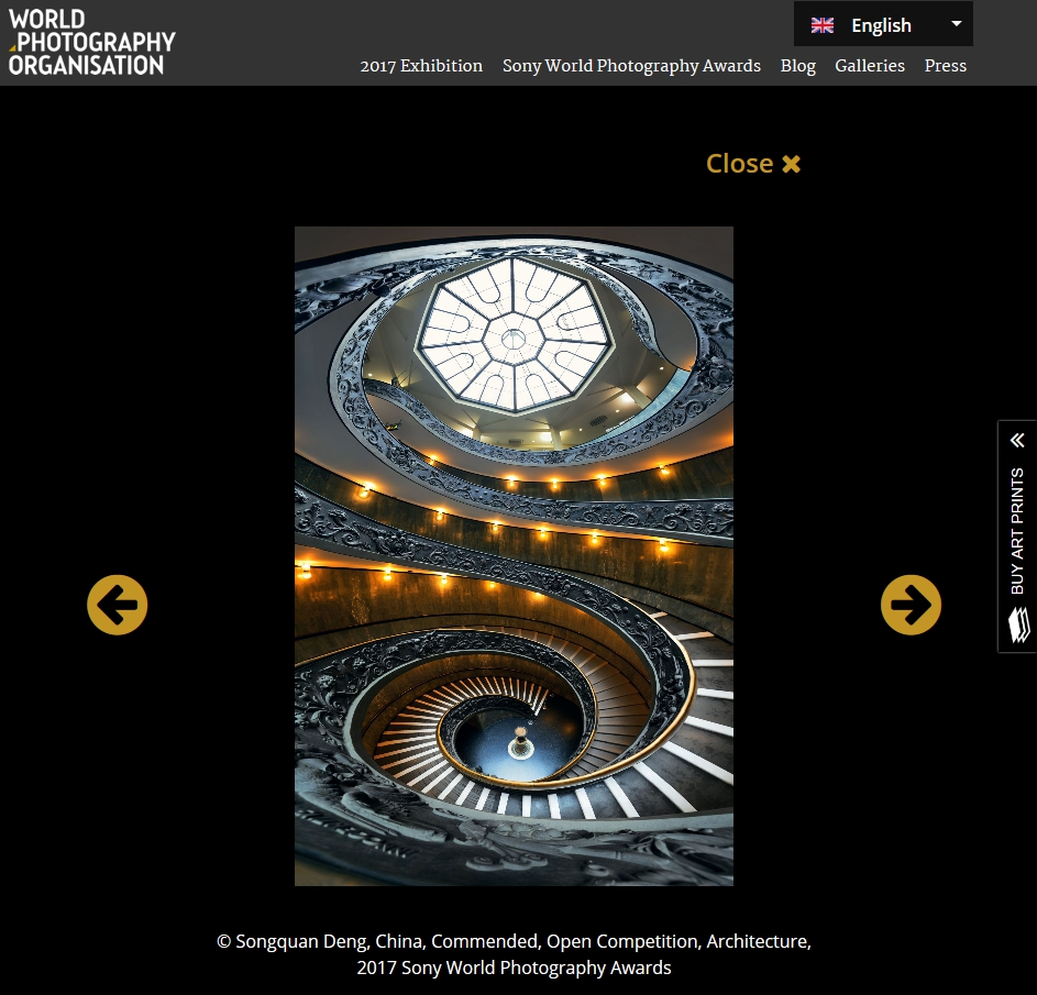 2017 Sony World Photography Award, Commended Photographer, Vatican Staircase.