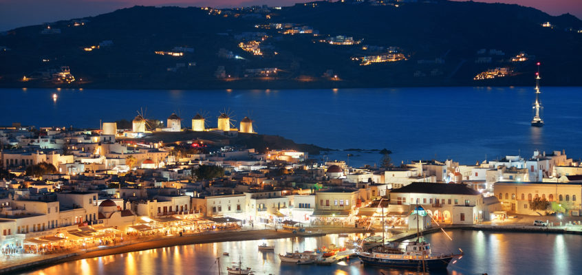 Bay night, Mykonos, Greece