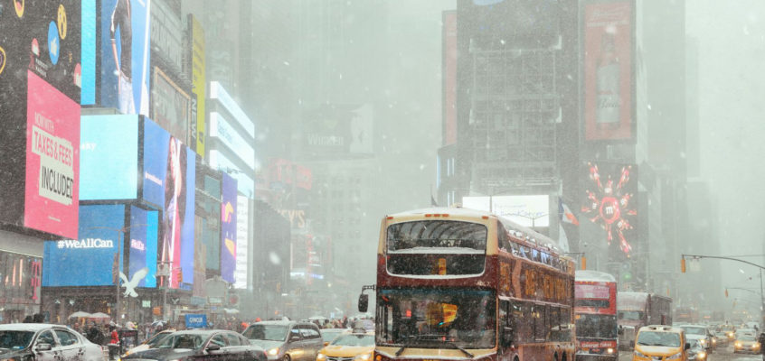 Snowing Times Square, New York City
