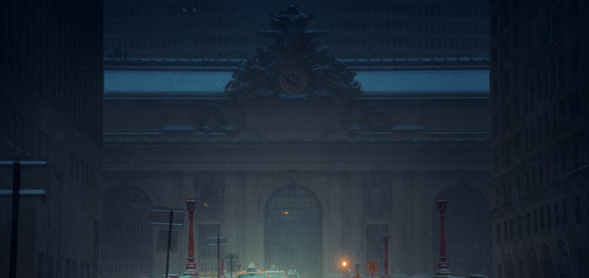 Grand Central Station in snow, New York City