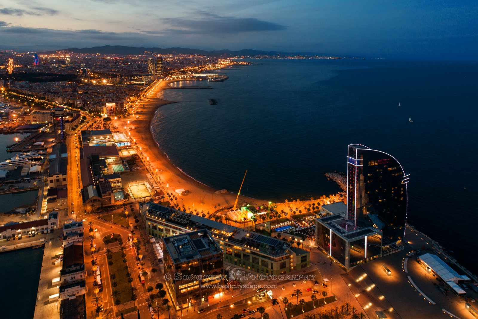 Dusk Bay Aerial View Barcelona Spain Songquan Photography